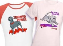 three legged dog and cat t-shirts, gifts