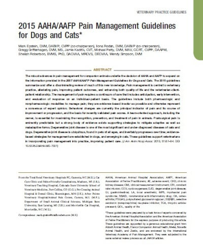 animal pain guidelines
