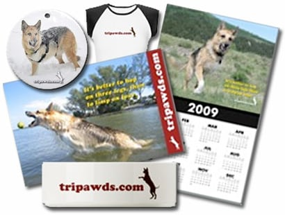 support tripawds with three legged dog apparel and gifts