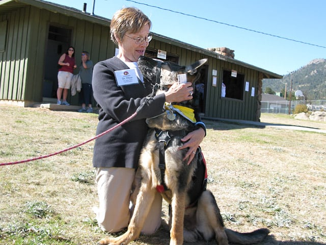 Morris Animal Foundation CEO Dr. Patricia Olson with Wyatt