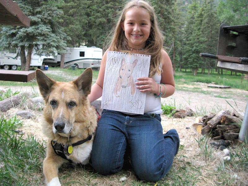 Three legged therapy dog Bruiser brings love to cancer survivor Delaney in Colorado.