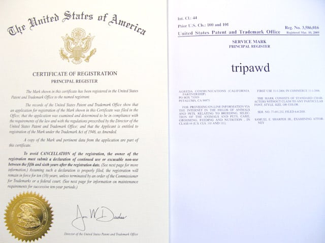 Tripawds Registered Trademark Certificate